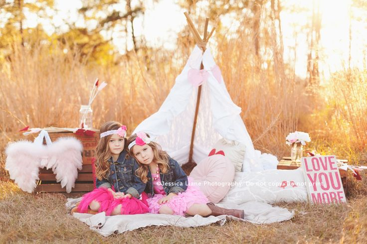 Two gorgeous little girls and a styled Valentine's set