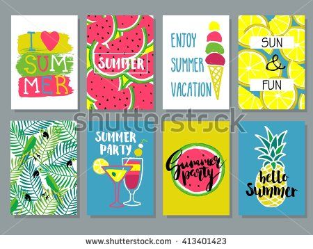 Vector collection of creative summer cards.Placard, poster, flyer. Background, wallpaper with pineapple, watermelon, lemon,ice cream,parrot, palm leaves, cocktails.