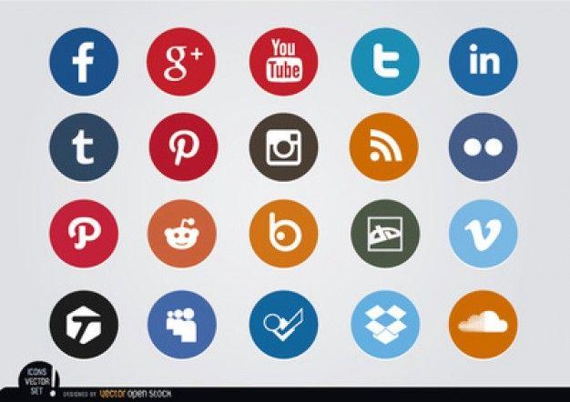 Cercle des icônes de médias sociaux de couleur Vecteur gratuit