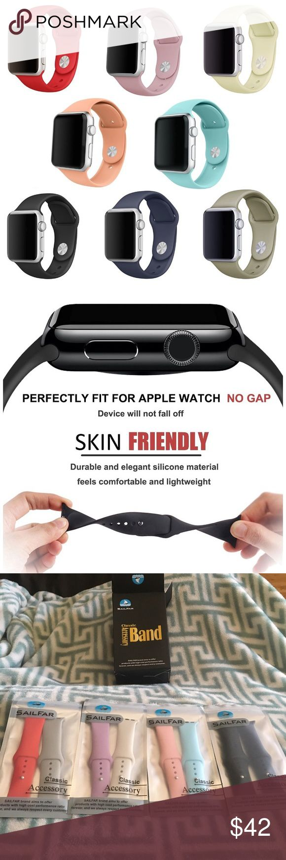 "NEW Apple Watch Bands Brand new, never used. 8 pack of silicone Apple Watch 38mm bands in a size small (5.5""-7.5""). The bands fit both the Apple Watch 1 and 2. Made from durable and elegant material makes you feel comfortable. Metal parts made with hypoallergenic nickel free stainless steel. The bands will not fade or become old even when they are worn in different types of weather because they are weather proof. Colors included are- black, navy, light pink, light blue, lavender, white, red…"