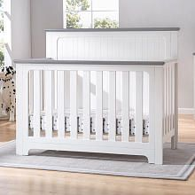 Delta Children Providence 4-in-1 Convertible Crib - White and Textured Grey