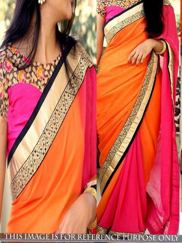 Dalliance Orange Georgette Designer Saree comes with Pink Color Blouse. It contained the Dori Work & Multy with Lace border. The Blouse can be customized up to bust size 44