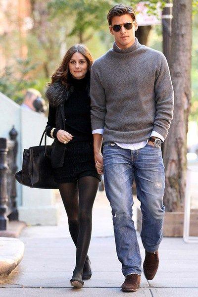 Shop this look on Lookastic:  http://lookastic.com/men/looks/sunglasses-turtleneck-long-sleeve-shirt-jeans-loafers/7979  — Dark Brown Sunglasses  — Grey Turtleneck  — White Long Sleeve Shirt  — Blue Ripped Jeans  — Dark Brown Suede Loafers