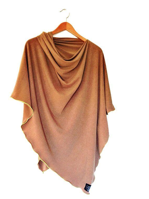 Caramel Women's Poncho // Oversized Tunic // di busyspinningthread, $38.00