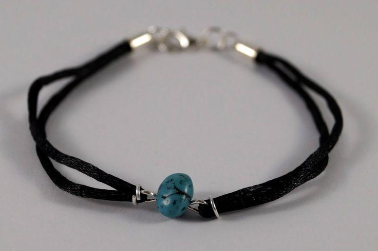 Black turquoise bracelet by TosTosia