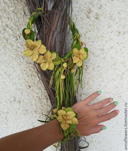 """Колье, бусы ручной работы. Ярмарка Мастеров - ручная работа. Купить Колье и браслет из кожи """" Орхидеи """". Handmade."""