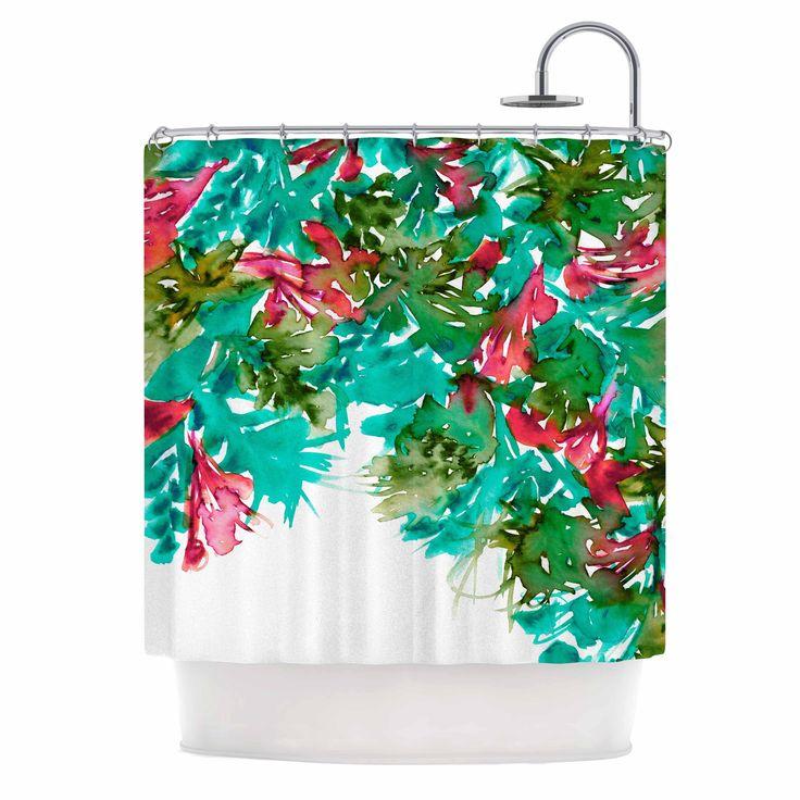 "Ebi Emporium ""Floral Cascade 7"" Teal Red Shower Curtain from KESS InHouse"