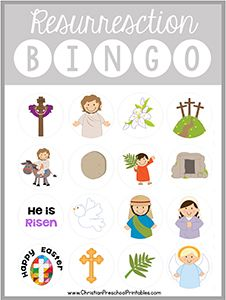 Free Printable Easter / Resurrection Bingo Game: http://christianpreschoolprintables.com/holiday-bible-printables/easter-bible-printables/!!! What a great idea for Sunday school teachers of your children!!!