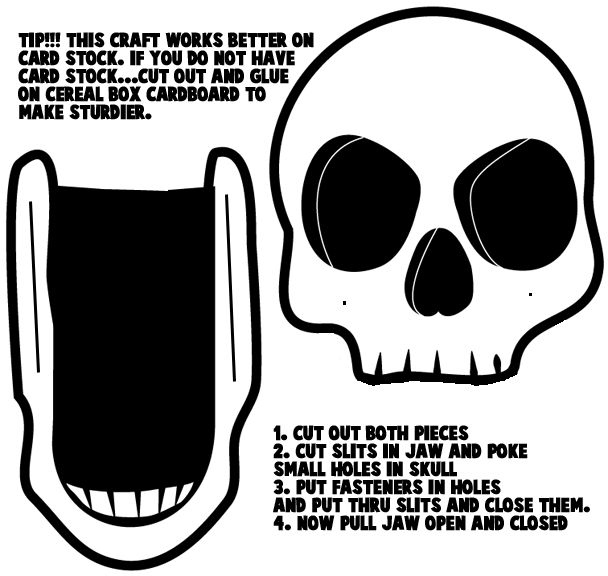 halloween craft templates halloween skulls card stock crafts with - Halloween Skeleton Template