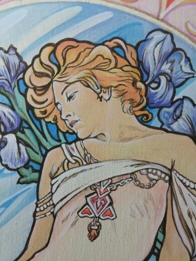 """"""" Iris in terrazza sul Tirreno """" ( only for you )  Acrilici su legno  cm 30 x 40 - particolare . Ispirazione ed omaggio ad A.Mucha"""