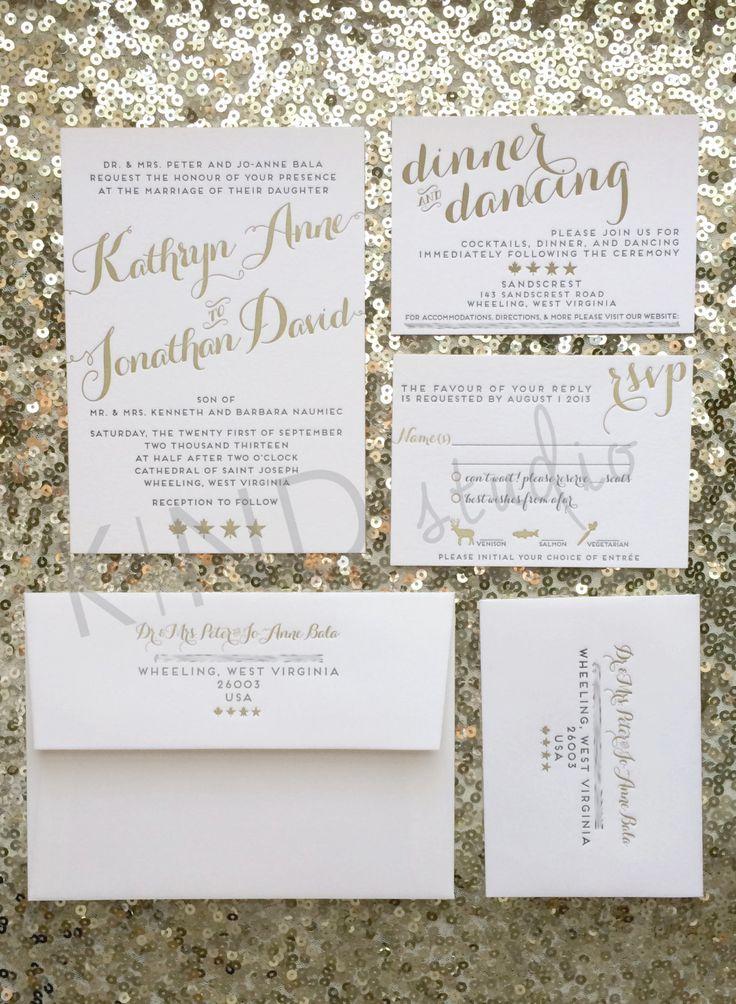addressing wedding invitations married woman doctor%0A Gold Wedding Invitation Suite  Custom