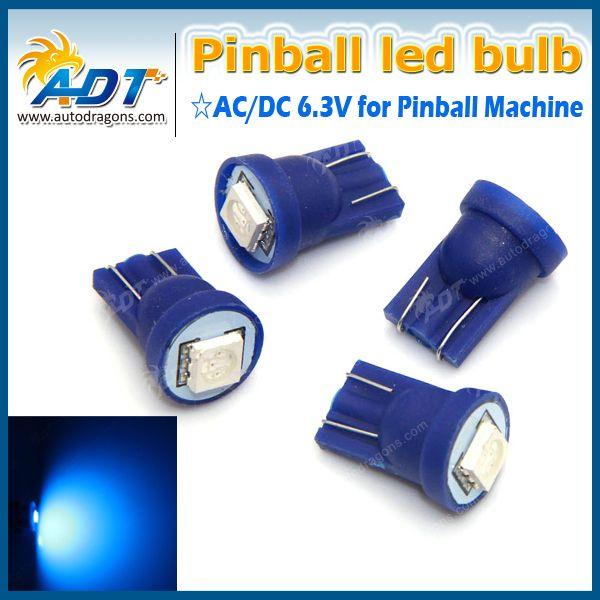 500PCS free shipping T10 #555 Ba9s #44 #47 AC 6.3V 5050smd pinball led bulbs for pinball game machine parts no flicking pinball
