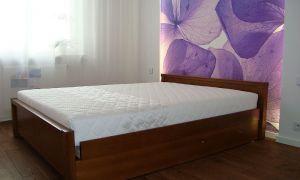 Łóżko drewniane z pojemnikiem Posejdon 140x200 niski zagłówek