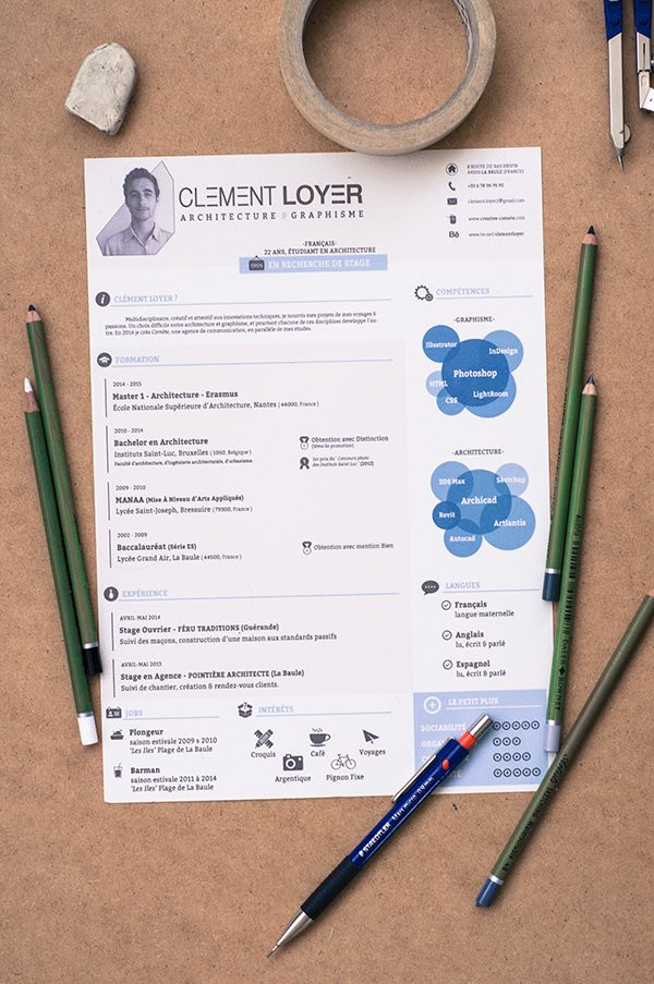 Very unique resume style that seems basic but has many little details that make it stand out, from the header picture and font use, to the visual skill compliment on the right side, just a great little resume package. For more resume design inspirations click here: http://www.pinterest.com/sheppardaaron/-design-resumes/ Creative Resume Design, Resume Style, Resume Design, Curriculum Vitae, CV, Resume Template, Resumes, Resume Format.