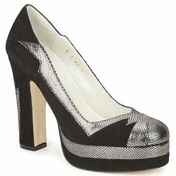 Terry de Havilland Black & Silver Metallic Grid Print High Heels - Spartoo