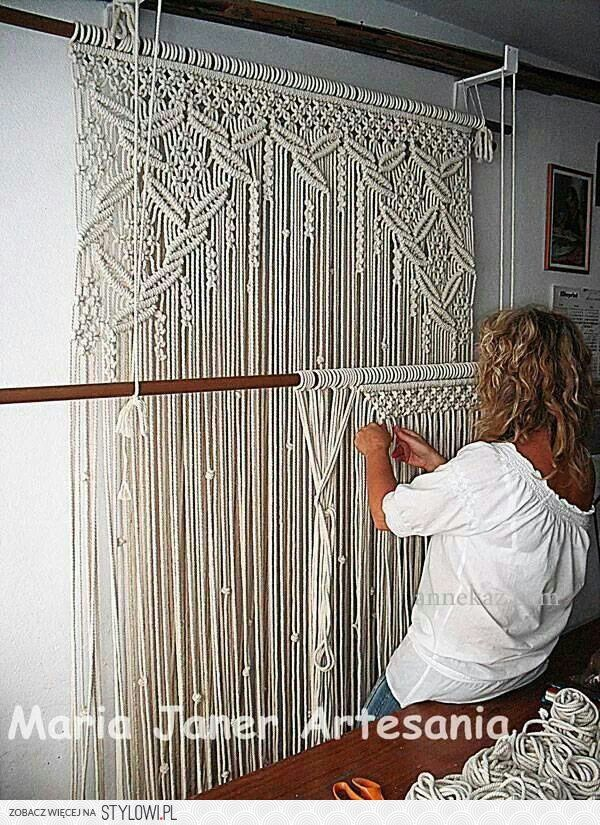 beautiful ... window treatment ..... door or opening treatment... how about a room divider ... wall hanging... also I can see this in a patio type environment as long as if it becomes wet it would not loose shape
