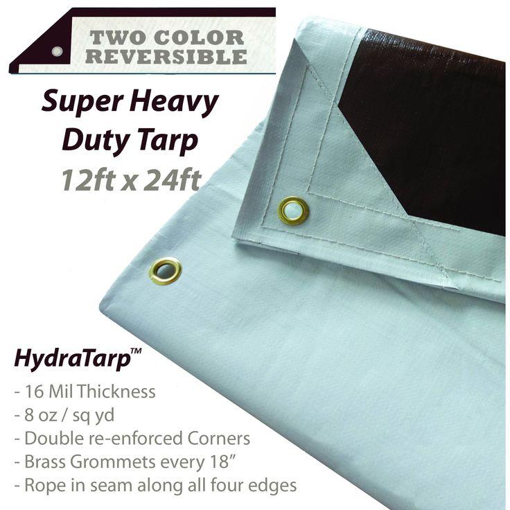 HydraTarp 12 Ft. X 24 Ft. Super Heavy Duty Waterproof Tarp - 16mil Thick - White / Brown Reversible Tarp