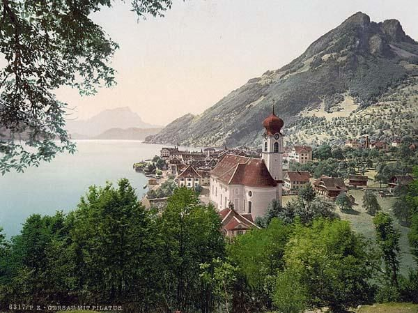Historic Color Print Of Gersau And Pilatus Lake Lucerne In Switzerland