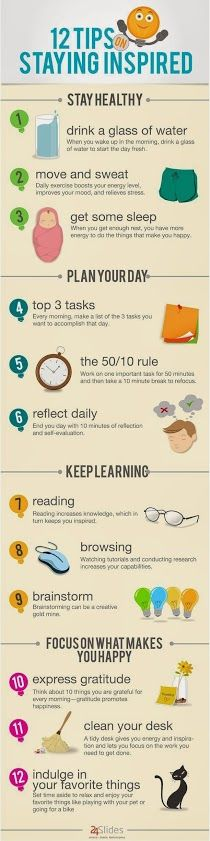12 Tips for Staying Inspired ||||#infographic #health #yoga #task…