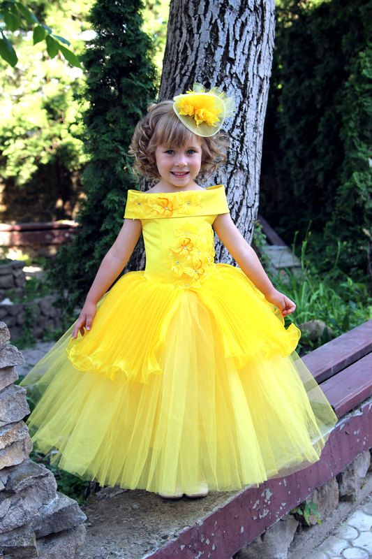 Yellow Flower Girls Dress Birthday Wedding by Butterflydressua
