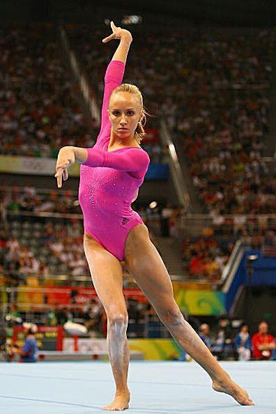 Olympic champion gymnast Nastia Liukin performs on floor at the 2008 Olympics