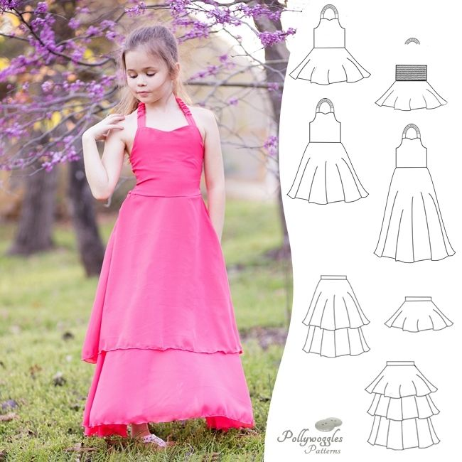 The Aurora Belle PDF sewing pattern by Pollywoggles is a skater style with a half circle skirt and sweetheart halter bodice.  Includes options for peplum, knee length, and full maxi length skirt.