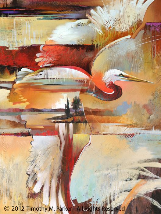 "Abstract Bird Painting, Contemporary Art, ""Passing through"" Artist Tim Parker - Art2D Gallery, Modern Art Original Paintings and Fine Art Prints"