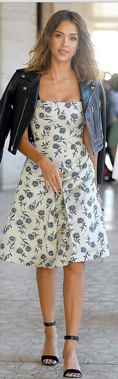 Jessica Alba: Dress, shoes, purse, and watch – Tory Burch  Earrings – Marrin Costello