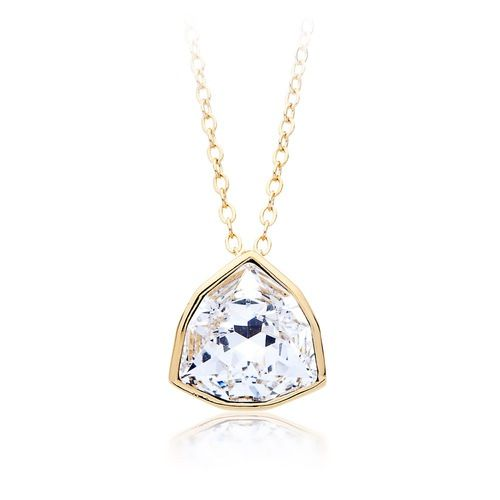 Trillion Brief Pendant with Clear Swarovski® Crystal Gold Plated