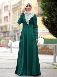 Lace Dress - Green - Melek Konat