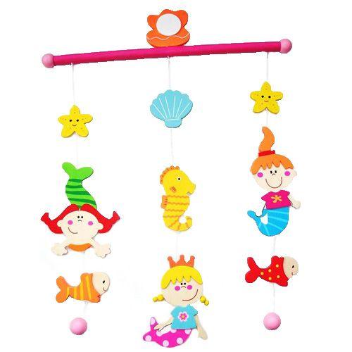 Mobiel Zeemeermin - Leuke houten mobiel met zeemeerminnen, zeepaardjes en schelpen erop van Simply for kids om op te hangen aan het plafond of voor het raam