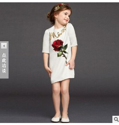 Cheap dress tissue, Buy Quality clothing dress directly from China dress romantic Suppliers: Girl Dress Rose floral pattern dress-line princess European style girl baby children's clothing 2-10Y