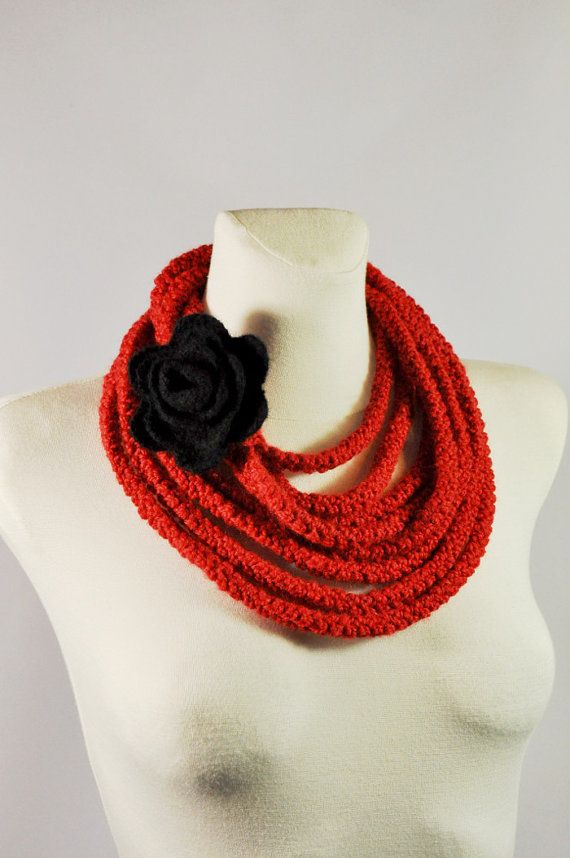 Infinity Scarf  Red Necklace Rope Scarf Crochet by aboutCRAFTS