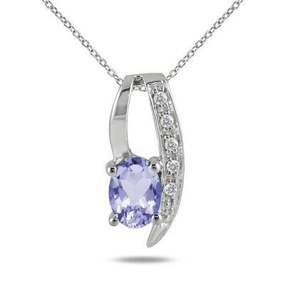 1.00 Carat Tanzanite and Diamond Pendant in .925 Sterling Silver