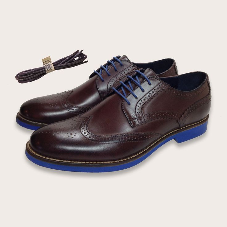 Men's Brown Brogues Leather Shoes Blue Soles by Coogan London