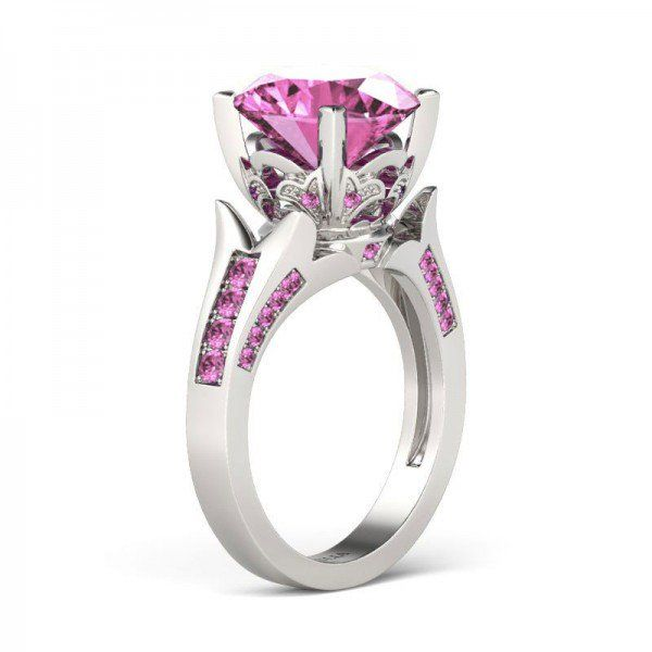 Flower Design Brilliant Cut Created Pink Sapphire Rhodium Plating Sterling Silver Women's Engagement Ring - Jeulia Jewelry