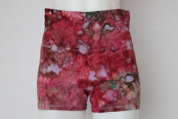 $32 - Tie dye Yoga Shorts Ice Dyed Size Medium  by ASPOONFULOFCOLORS Find this item on https://www.etsy.com/shop/ASPOONFULOFCOLORS?ref=hdr_shop_menu