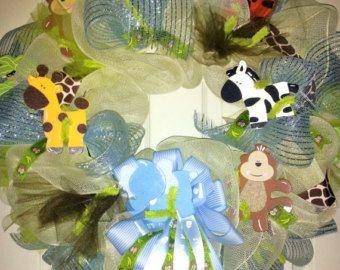 Baby Boy wreath Baby Safari wreath Mesh baby door aDoorMeWreaths