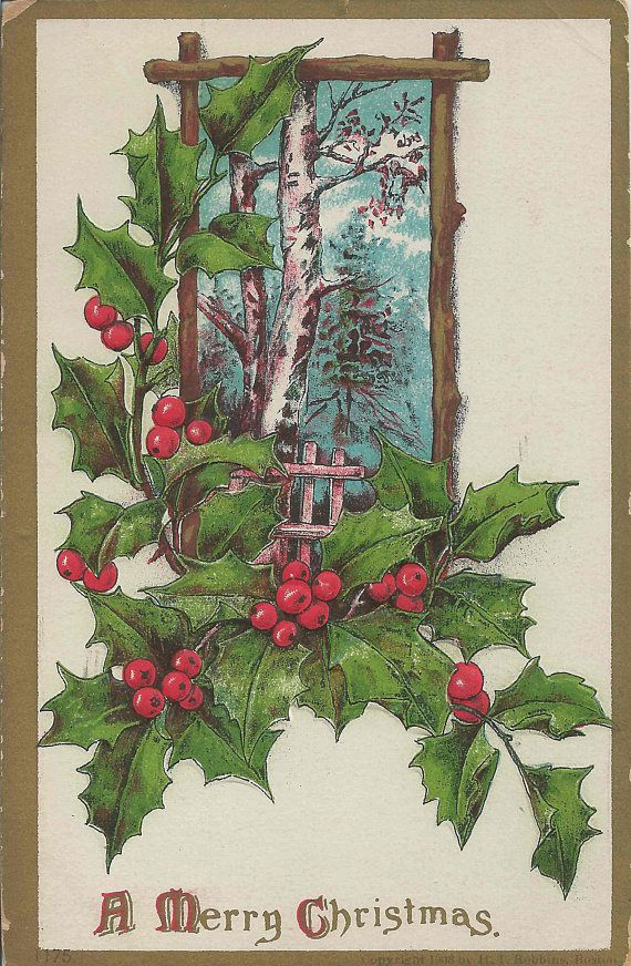 1910 Antique A Merry Christmas Postcard With Winter Forest Scene Surrounded By Lovely Holly Branches and Red Berries Framed in Gold