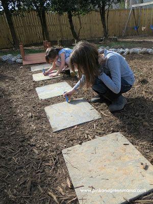 backyard kids play area ideas | Our kids love to use the slate stepping stones…