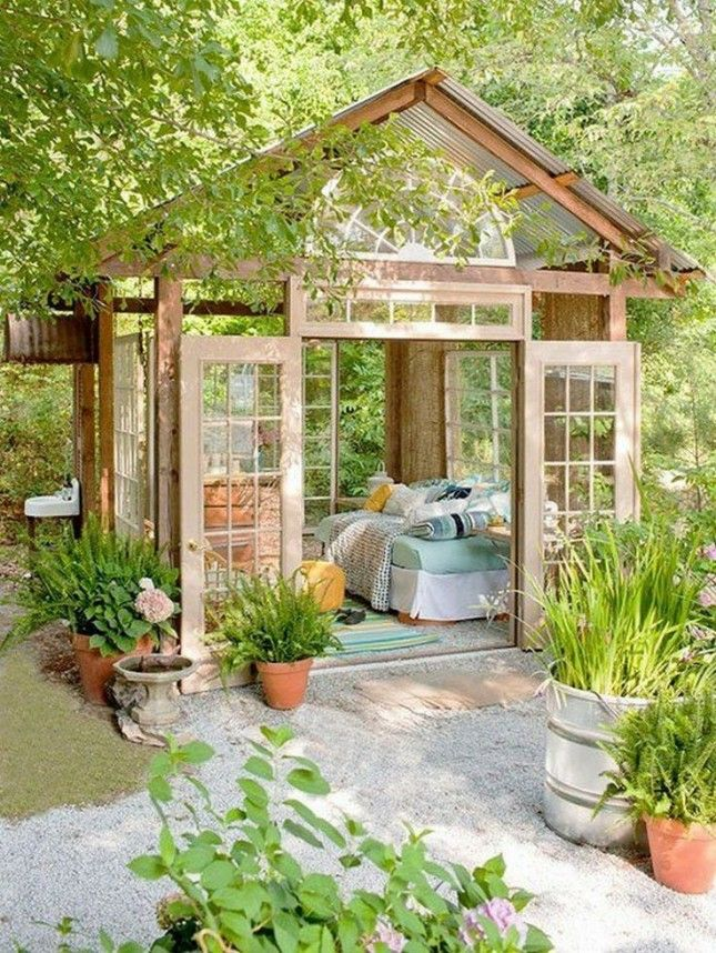 You can turn your greenhouse into a she shed or a guest house if it's large enough.