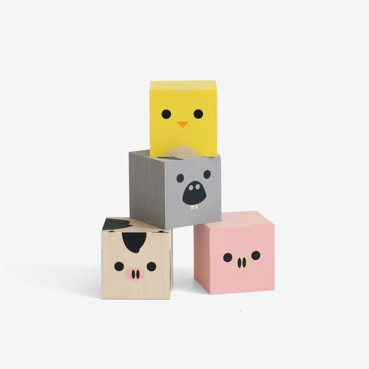 Chick. Cow. Donkey. Pig. Your favorite free range farm animals, squared. Made from sustainable Midwestern basswood. You'll also find four paper environments. Eco-friendly fun. Mix, match, moo. Also se