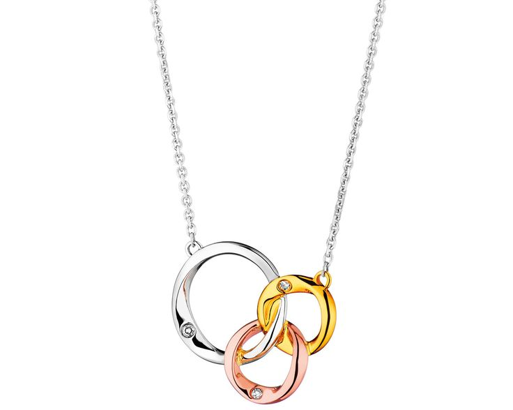 Naszyjnik z białego,żółtego i różowego złota z diamentami - wzór 109.673 / Apart