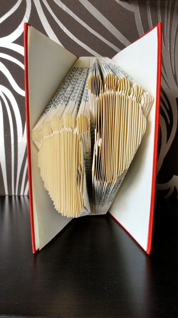 Folded Book Art - Baby feet - Unique present - Baby