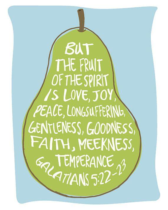 Fruit of the Spirit Wall Art Bible Verse Art by KiwiInTheClouds