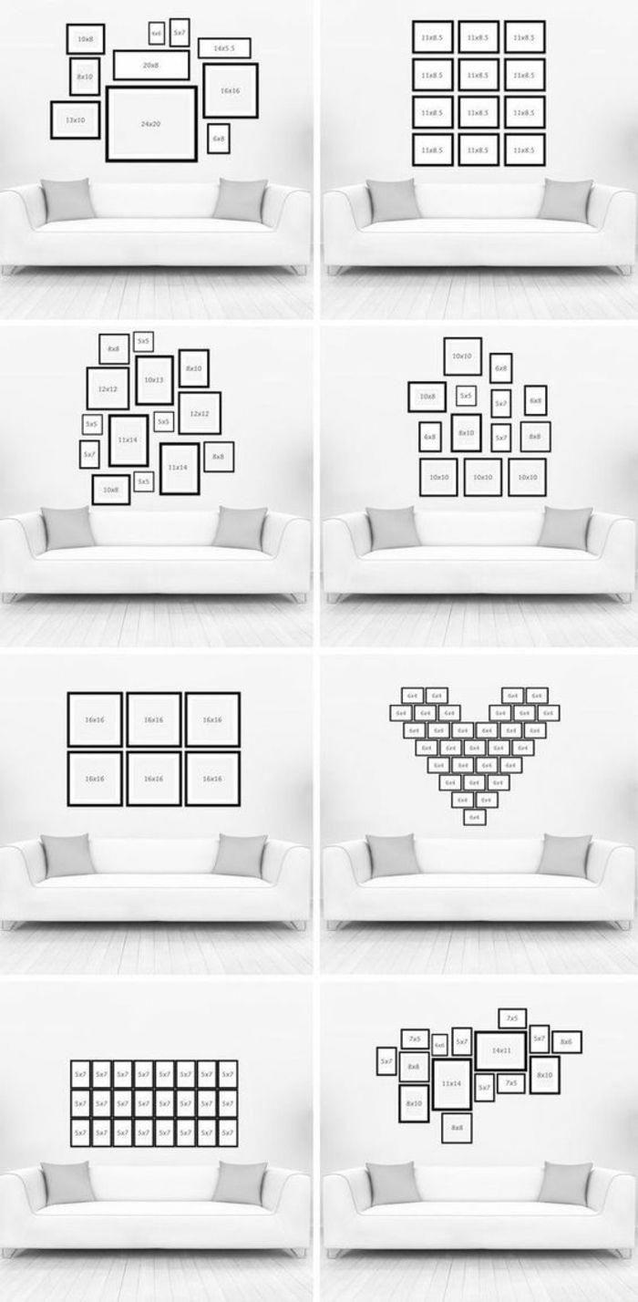 Cadre Au Dessus Du Canapé deco-mur-modèles-comment-arranger-les-cadres-photos-au
