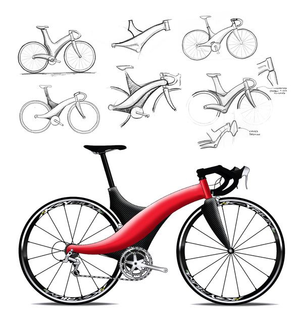 Bicycle sketches and renderings by James Thomas, via Behance #bike #design
