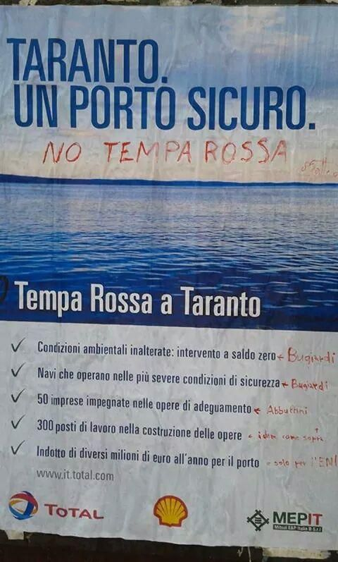 Strani manifesti in città. Stop#TempaRossa: presto risposta all'invito di Total al workshop del 16 Ottobre.
