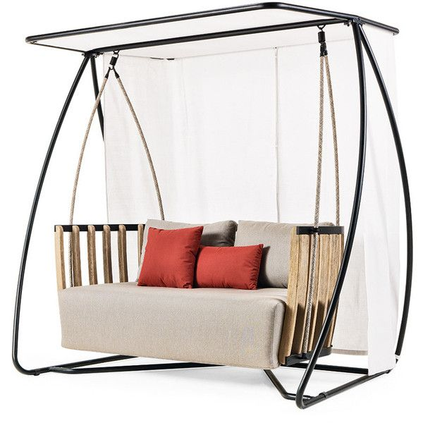 Ethimo Swing Porch Swing ($5,555) ❤ liked on Polyvore featuring home, outdoors, patio furniture, hammocks & swings, brown, outdoor swing, outdoor patio swing, outdoor porch swing and outside swings