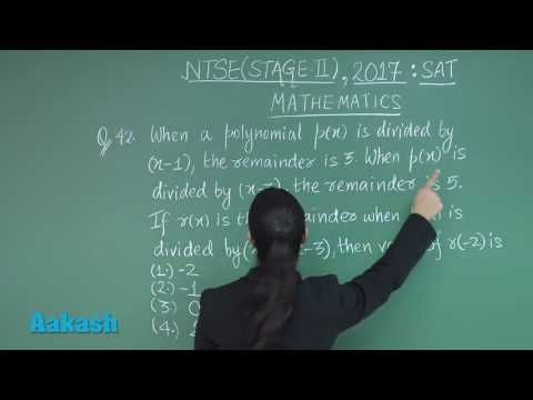 NTSE (Stage-II) 2017 Video Solutions for SAT Maths Questions 44 & 45 - YouTube